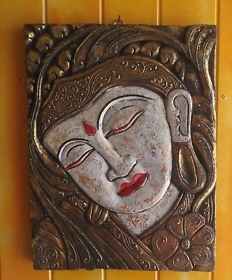 Unique Hand Carved Buddha Face Painted In Brown & Gold 40Cm H X 29Cm W