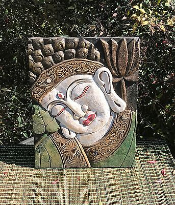 Unique Hand Carved Buddha Face Painted In Green  White& Gold  40Cm H X 29Cm W