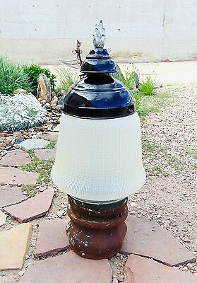 Antique Street Light Globe w/ Enamel Porcelain Flame Finial Cast Iron Base More