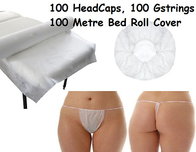 Disposable Pack Massage Table Bed Roll Cover 250 Sheets 100 HeadCaps + Gstrings