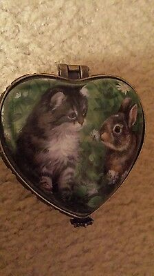 HEART SHAPED PERSIS CLAYTON WEIRS WILD WINGS Jewelry Trinket Box - Cat & Rabbit