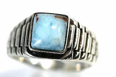 D099 Mens Larimar Sterling 9g 925 Ring size 12 1/2