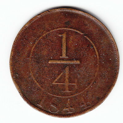 DOMINICAN REPUBLIC 1/4 real 1844 KM1 Bronze 1yr type ABOVE AVERAGE for type RARE