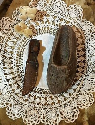 1940s -Two FUN SOUVENIRS From Trip Thru Old West On Rte 66 - Knife & Moccasin!