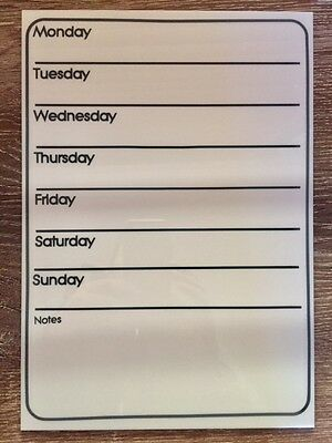 A4 white acrylic whiteboard family / meal / job planner