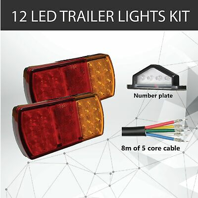Pair of 12 LED TRAILER LIGHTS KIT - 1x NUMBER PLATE LIGHT, 8M x 5 CORE CABLE 12V