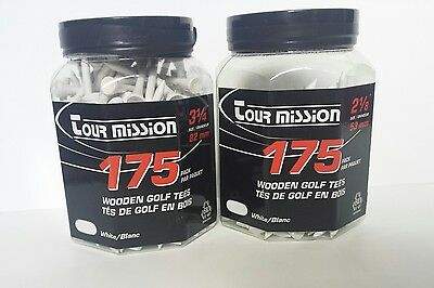 300 Pack Of White Tour Mission Wooden Golf Tees (2x packs of 175) 53mm and 82mm