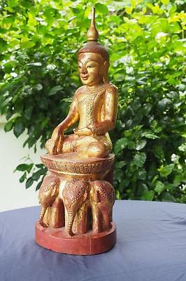 Antique Wooden Buddha statue on an elephant throne  Mid-20th-Century