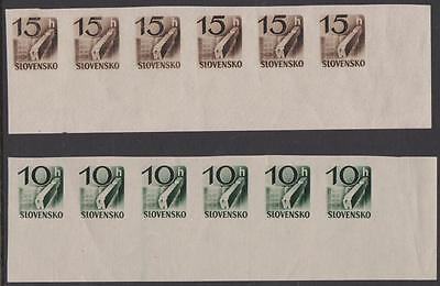 SLOVAKIA - 1943 10h, 15h IMPERF strips of 6. Scott P31-32. MNH
