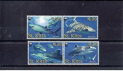 ST KITTS 2007 WORLD WILDLIFE FUND SG 897 to 900 MNH - Sharks