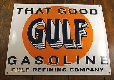 That Good Gulf Gasoline Orange Disc Logo Refining Company Porcelain Enamel Sign