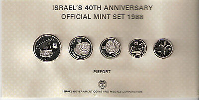 1988 Israel's 40Th Anniversary Official Mint Set Special Pure Nickel Dble Thick