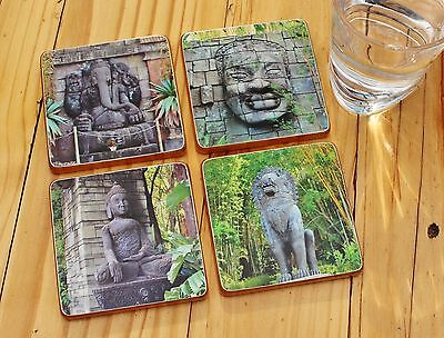 Timber drink coasters Asian Inspired (1 set of 4 coasters )