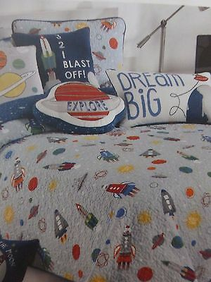 Authentic Kids Blast Off into Space Twin Quilt NIP