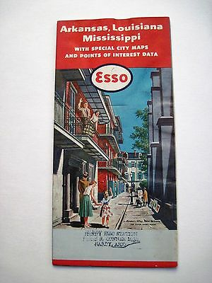 """Vintage """"Esso"""" Road Map for Arkansas, Louisiana, Mississippi w/Pirate's Alley *"""