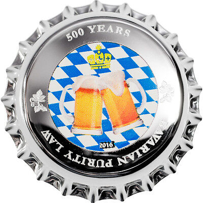 BAVARIAN PURITY LAW 500 Years  Beer Cap Silver .999 Coin 1$ Palau 2016