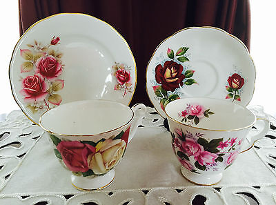 Mixed Vintage Queen Anne Bone China Cups, Saucer And Side Plate - Spares