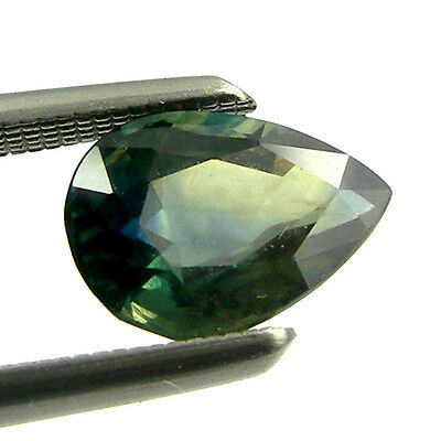 1.03 carat 7x5mm Pear Natural Fancy Australian Green Parti Sapphire Loose, PPS07