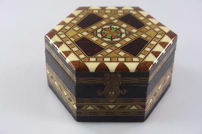Vintage Hand Made Wooden Jewellery Hexagonal Box With Mirror Inlay