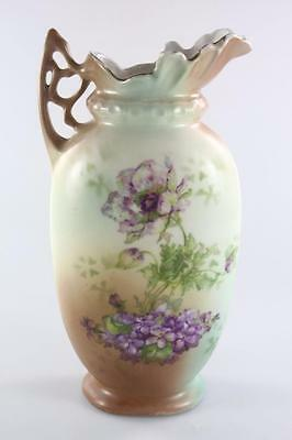Victorian Austrian Vase Jug With Hand Painted Flowers
