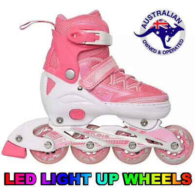 Girls Adjustable Roller Blades Inline Skates Light Up Wheels Size EU31-34 US 1-3