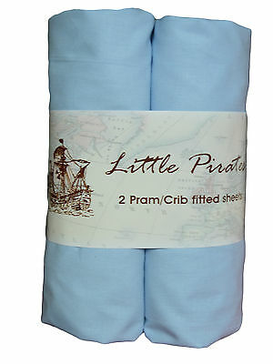 2 x Baby Pram/Crib Fitted Sheet 100% Cotton Luxury Percale Blue 40x90cm
