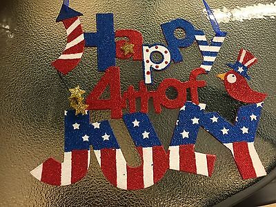 """""""Happy 4th of July"""" Glitter Sign Door Wreath Wall Hanging Decor Swag FLORAL"""