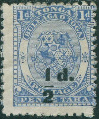 Tonga 1893 SG19 ½d on 1d Coat of Arms MNG