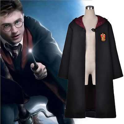 UK Adult Potter Style Gryffindor House Robe Cloak Cosplay Fancy Dress Costume S