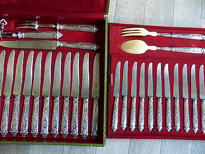 Sterling Silver 950. Rare & Superb Antique French 29 Pieces Dinner & Dessert Set