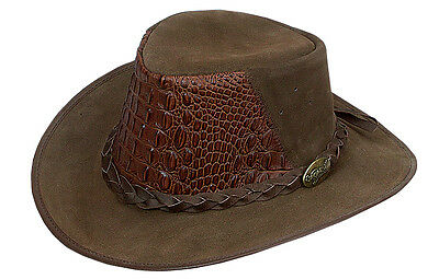 BUSHMAN CROC Buffalo  Leather hat Horse riding camping hunting EXOTIC TRENDY