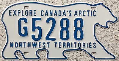 FREE UK POSTAGE Canada Northwest Territories Bear License Number Plate G5288