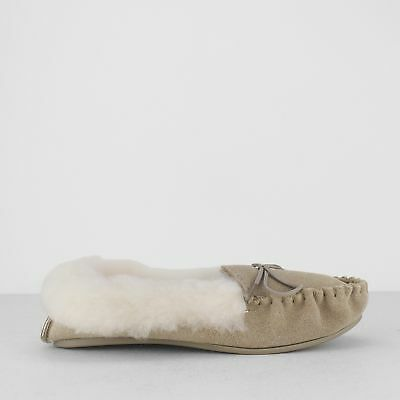 74d2d3ec1 Mokkers KIRSTY Womens Ladies Suede Leather Faux Fur Warm Moccasin Slippers  Taupe