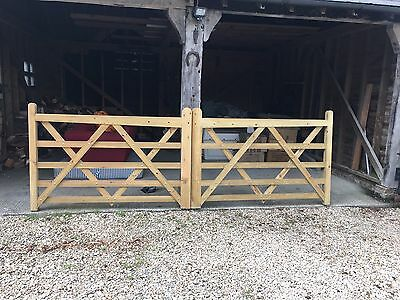Wooden 5 Bar Pressure Treated Gates (2 x 1.8m) Field ,driveway, entrance etc.