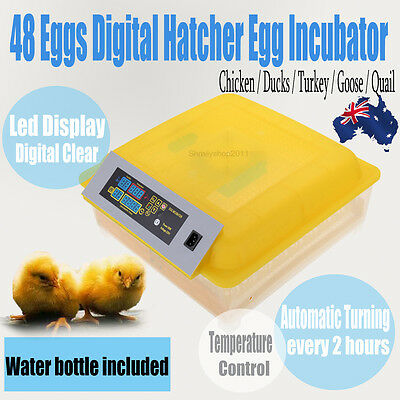Digital Fully Automatic 48 Egg Incubator Poultry Chicken Duck Bird Hatcher