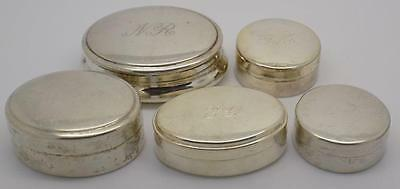 115g / 4.05-oz. - 5 x Vintage Solid Silver Pill / Snuff Italian Boxes - Stamped