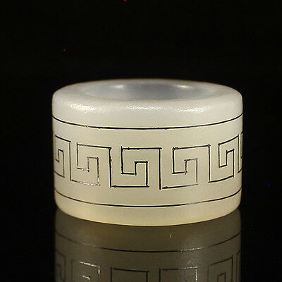 Chinese White Chalcedony Inlay Silver Wire Thumb Ring