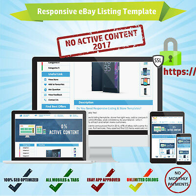 Mobile Responsive eBay Listing Auction Template HTML CSS No Active Content 2017