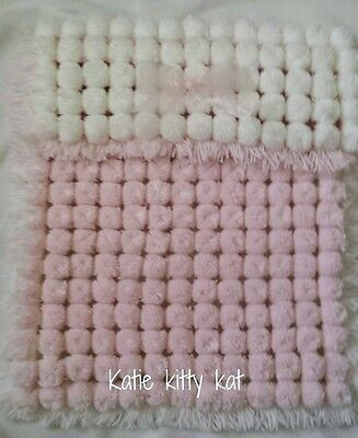 Pom Pom Turnover Blanket Pink & White Baby Girl With Removable Bow