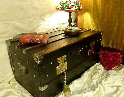 Fantastic French Banded Pine Trunk Chest,162 Brass Studs! Lock & Key,