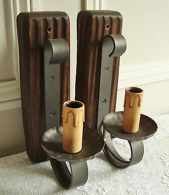 Superb Pair Wrought Iron Wall Lights Sconces Wooden Wall Fixings Vintage