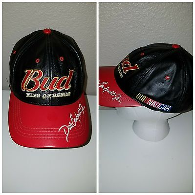Dale Earnhardt Jr Budweiser Bud Racing Leather Strapback Hat Nascar Racing