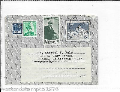 Nepal 1969 Aerogramme To Usa With Added Adhesive