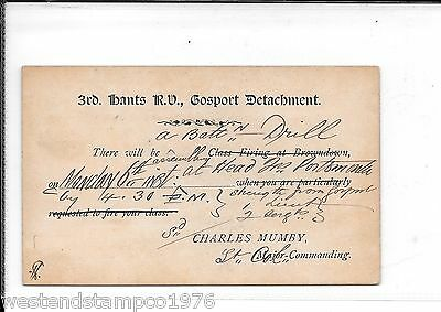 Military Hampshire Gosport 1884 Postal Stationary Postcard. 320 Duplex