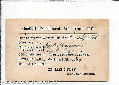Military Hampshire Gosport 1884 Postal Stationary Postcard.