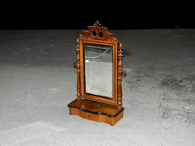 Antique Wooden Table Dresser Top Vanity Shaving Mirror with Drawer c. 1880s