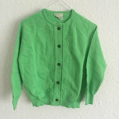 Vintage Kids Deadstock 1970s Apple Green Cardigan Jumper 2-3 Y
