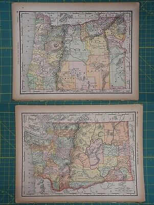 Oregon Washington Vintage Original 1894 Rand McNally World Atlas Map Lot