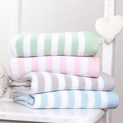 Clair de Lune Baby Pram Crib Pushchair Reversible Blanket - Candy Stripe