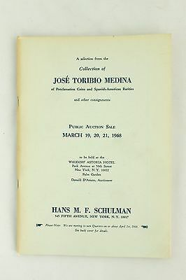 Rare Hans Schulman Jose Toribio Medina Vintage 1968 Auction Coin Catalog